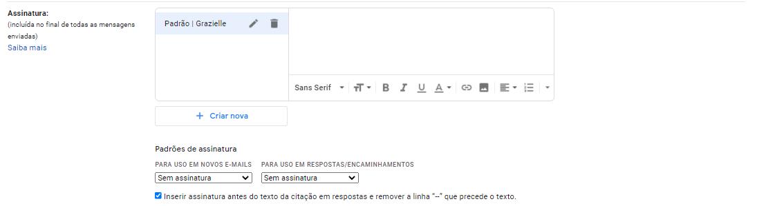 Assinatura no g-mail: Campo de criação