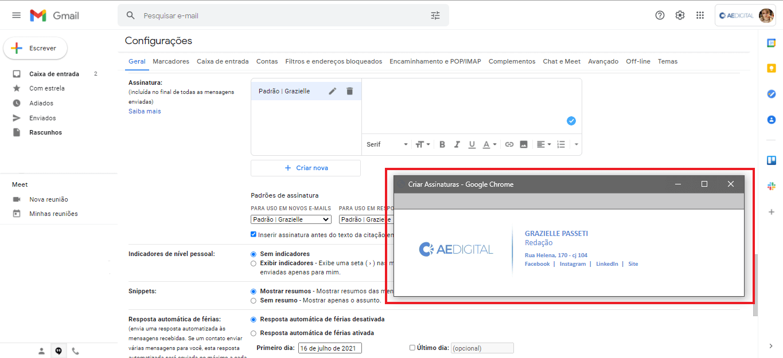 Assinatura no gmail: Assinatura com HTML